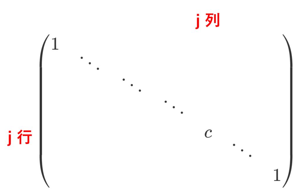 (j,j) 成分が c の基本行列