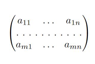 hdotsfor を用いた行列の書き方の例