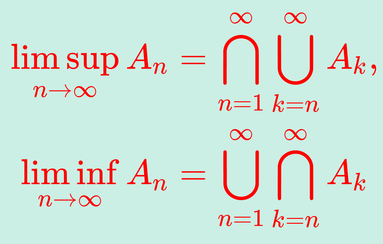 上極限集合・下極限集合の定義の式