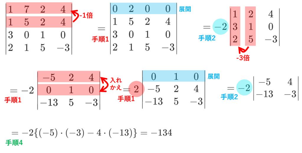 行列式の具体例の計算例。答えは-134