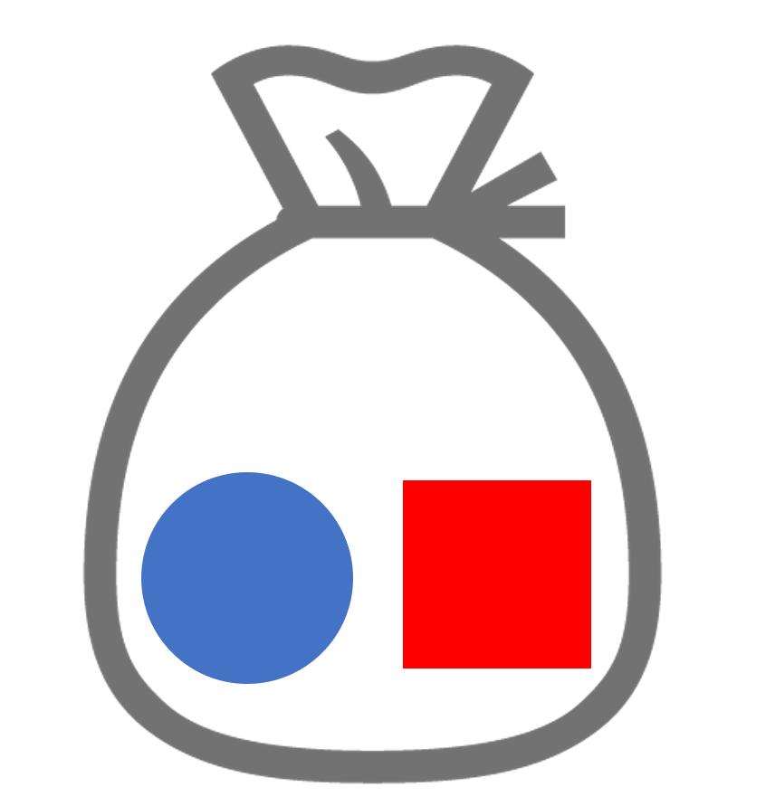 〇□の二つの要素を持つ集合の絵