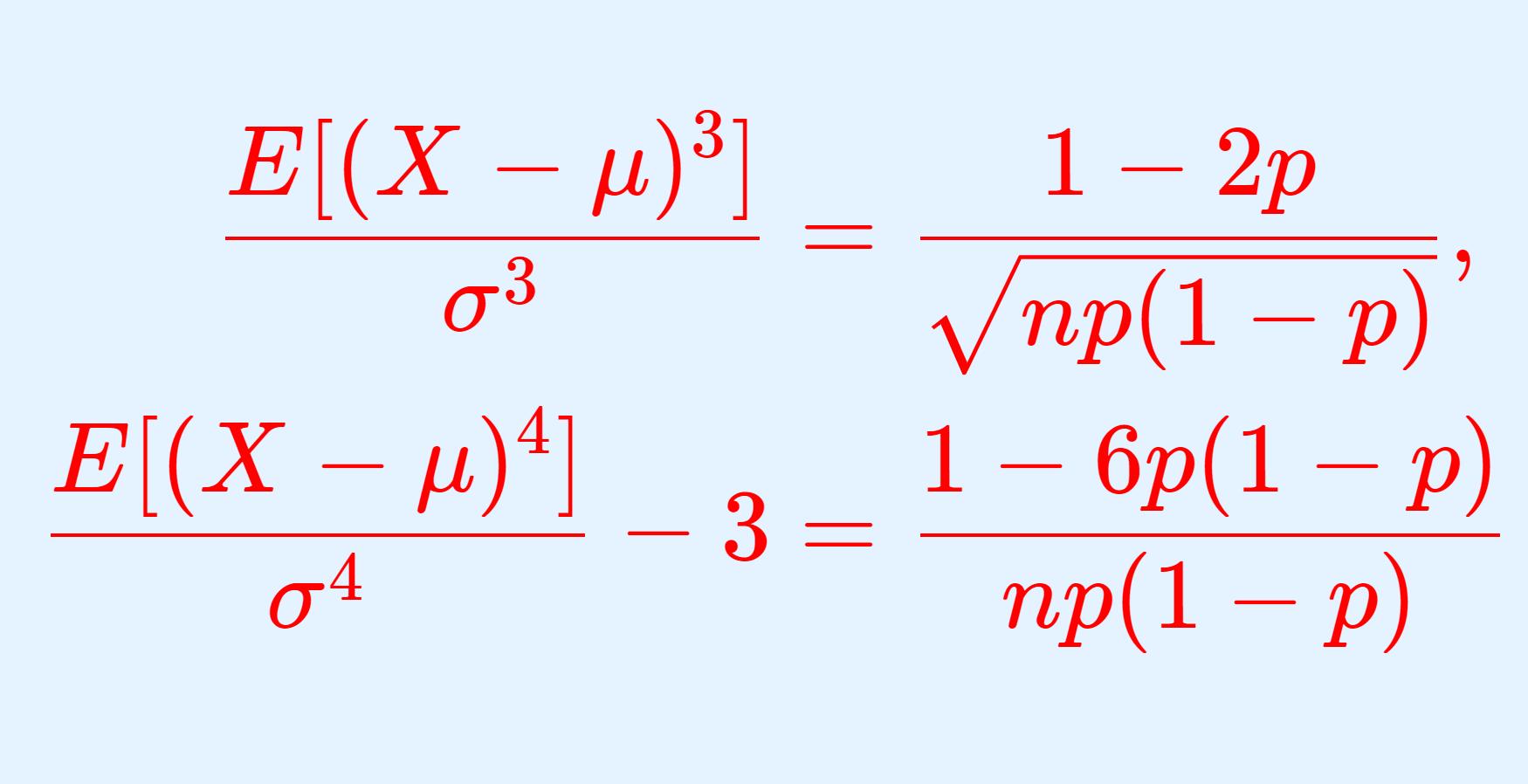 二項分布の歪度・尖度
