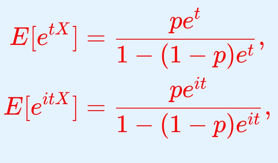幾何分布のモーメント母関数(積率母関数)・特性関数