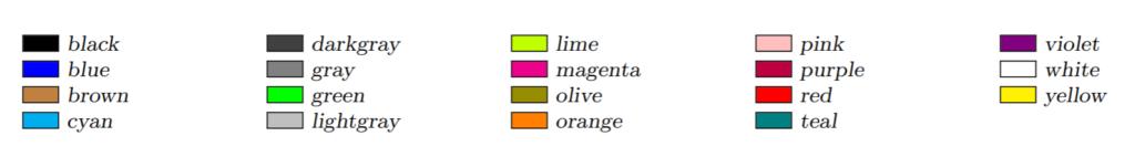 LaTeXにおいて,指定できる文字色一覧
