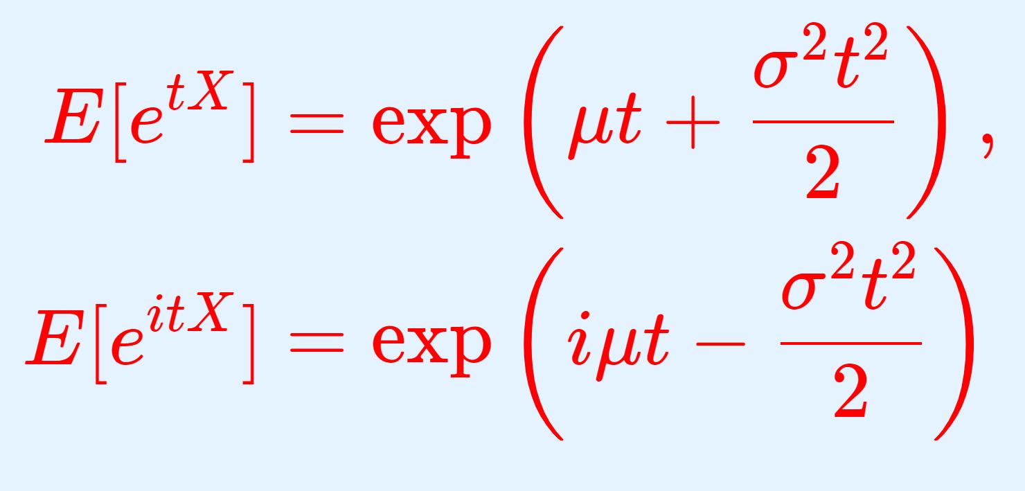 正規分布の積率母関数(モーメント母関数)・特性関数