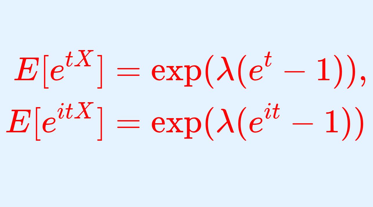 ポアソン分布の積率母関数(モーメント母関数)・特性関数