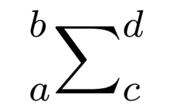 \sideset{_a^b}{_c^d}{\sum} の出力