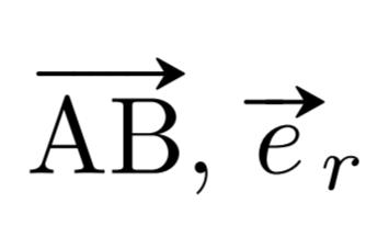\vv{\mathrm{AB}}, \vv*{e}{r} の出力例