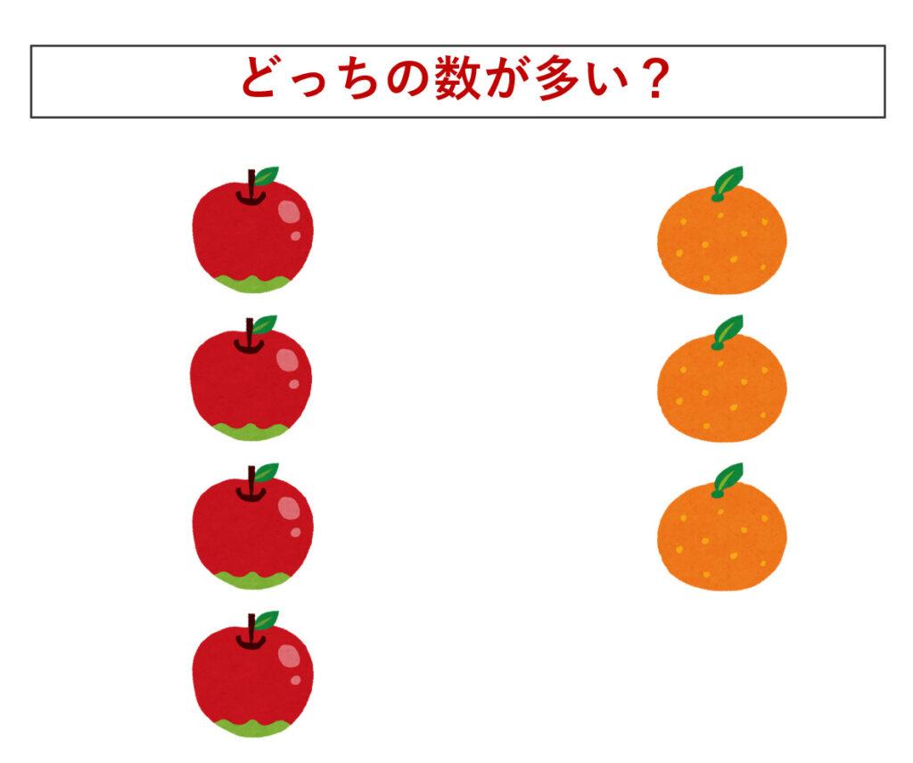 リンゴとミカンの画像