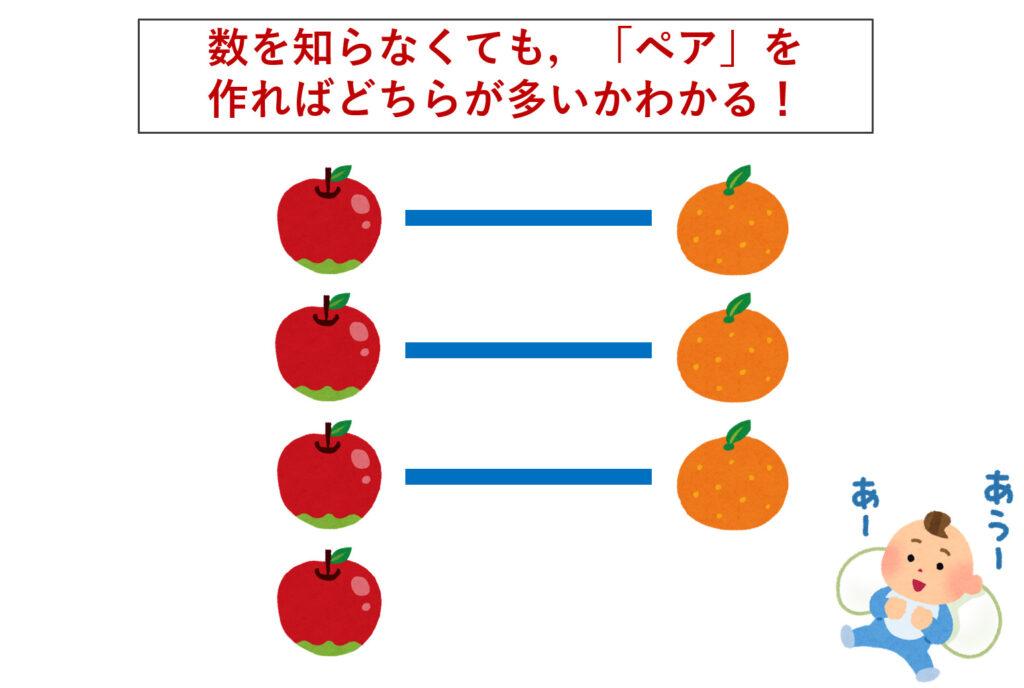 リンゴとミカンのペアを作って数を数える