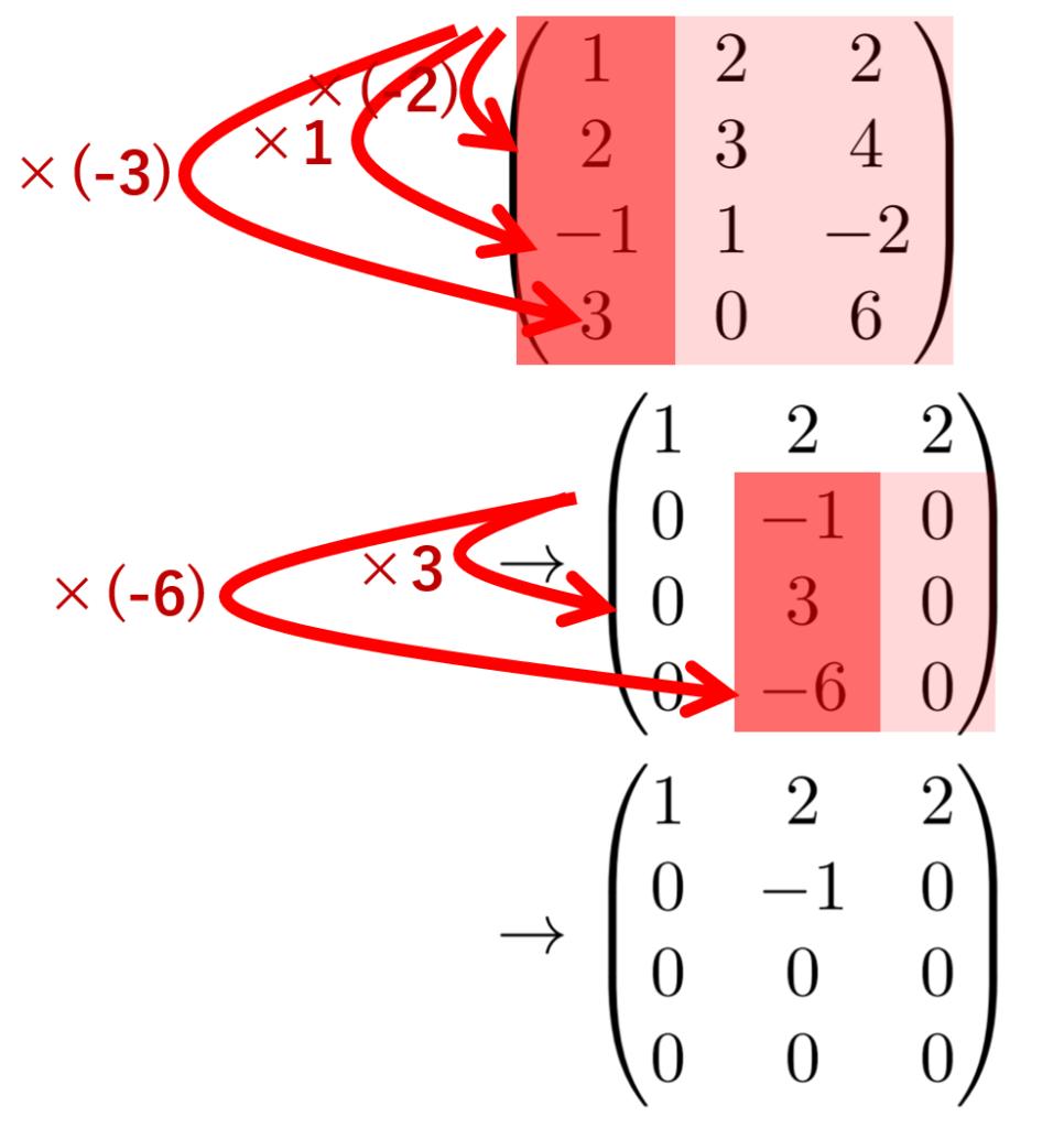 行基本変形によって階段行列を作る解説