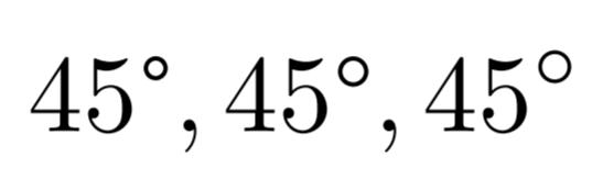 45\tcdegree,\ang{45},45^\circ の出力結果