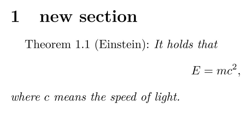 newtheoremstyle を用いて自作した定理環境の出力例